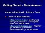 getting started basic answers2