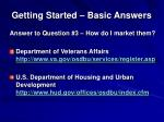 getting started basic answers9