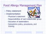 food allergy management plan