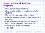 impact on school nutrition programs
