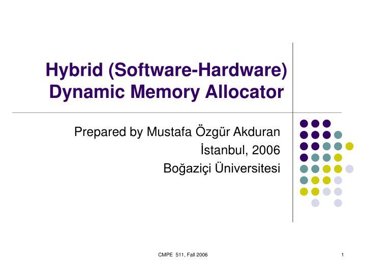 hybrid software hardware dynamic memory allocator n.
