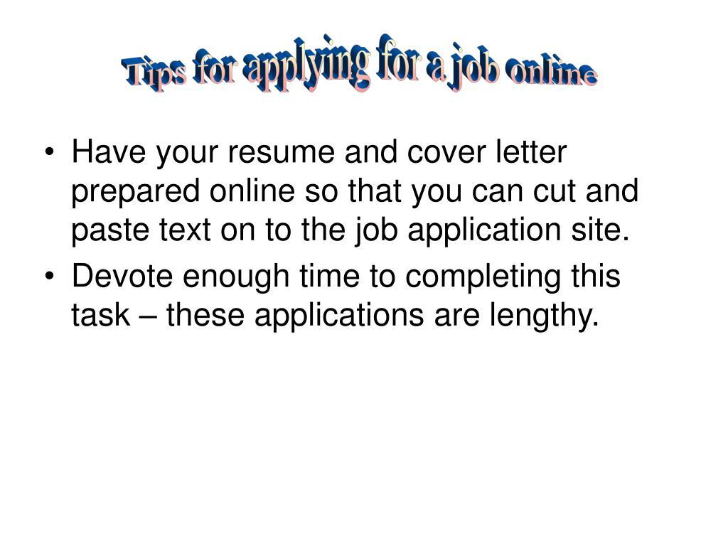 Tips for applying for a job online