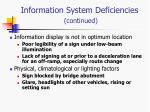 information system deficiencies continued1