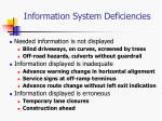 information system deficiencies