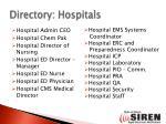 directory hospitals