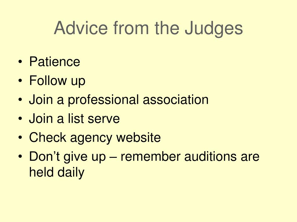 Advice from the Judges