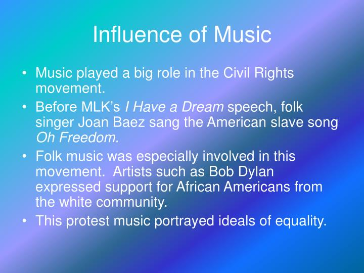 essays on influence of music Free essay on effects of music on human behavior it has been resolved that rock music has had more influence on older adolesencents.
