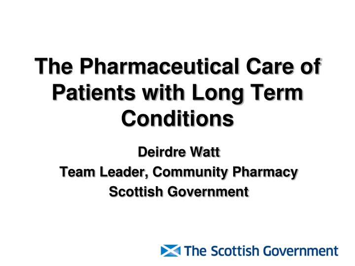 the pharmaceutical care of patients with long term conditions n.