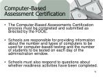 computer based assessment certification