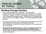 materials needed for testing18