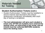 materials needed for testing3