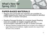 what s new for spring 20126