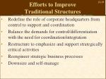efforts to improve traditional structures