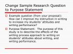 change sample research question to purpose statement