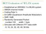 bet evaluation of wlan system