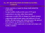 sec 305 registration of food facilities continued