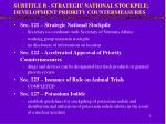subtitle b strategic national stockpile development priority countermeasures