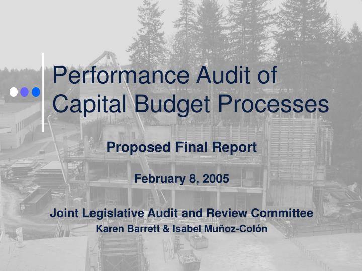 performance audit of capital budget processes n.