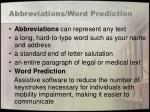 abbreviations word prediction