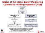 status of the trial at safety monitoring committee review september 2008