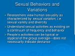 sexual behaviors and variations