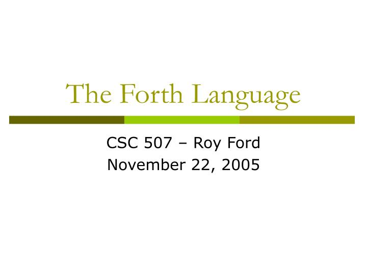 the forth language n.