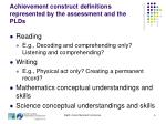 achievement construct definitions represented by the assessment and the plds