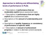 approaches to defining and differentiating levels of performance in plds