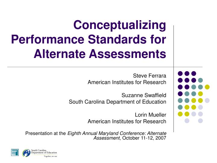 conceptualizing performance standards for alternate assessments n.