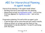 aec for hierarchical planning in agent model