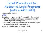 proof procedures for abductive logic programs with constraints