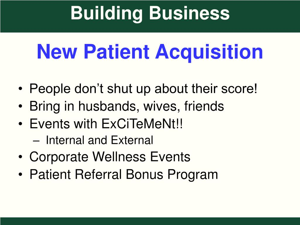 New Patient Acquisition