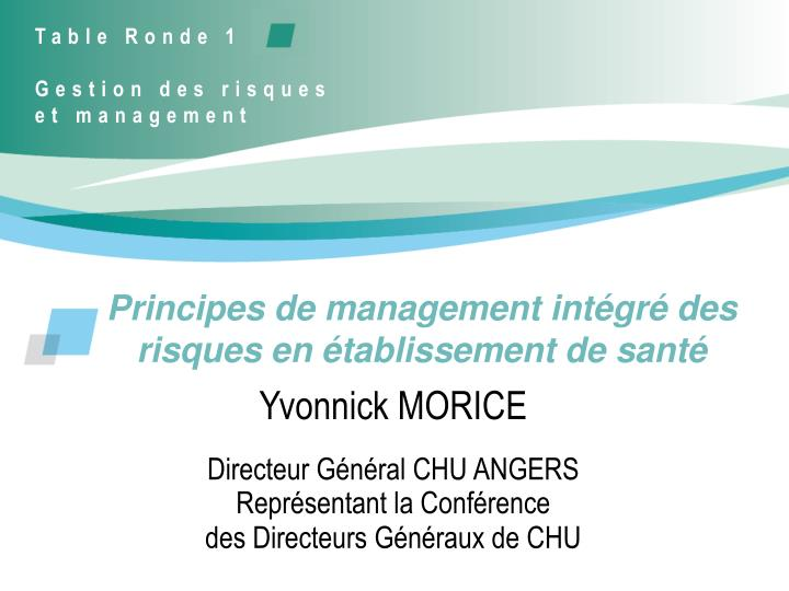 principes de management int gr des risques en tablissement de sant n.
