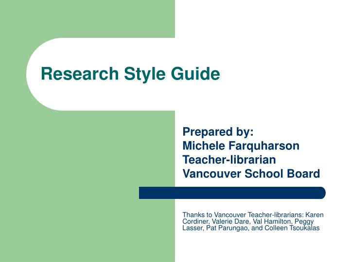 research style guide n.