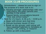 book club procedures book club procedures book club procedures