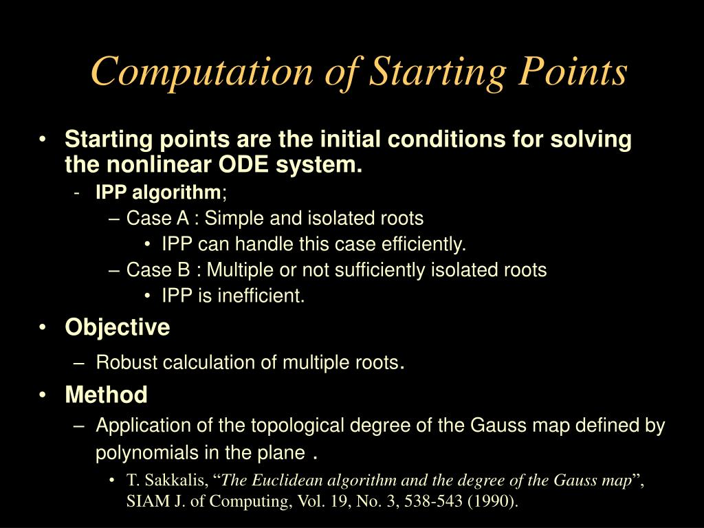 Computation of Starting Points