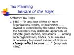 tax planning beware of the traps