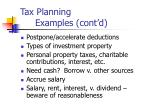 tax planning examples cont d