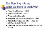 tax planning rates what we have to work with