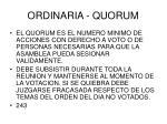 ordinaria quorum