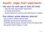 results single fault experiments