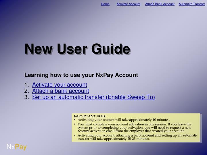 new user guide n.