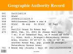 geographic authority record