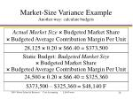 market size variance example another way calculate budgets