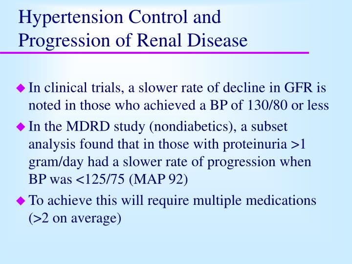 hypertension control and progression of renal disease n.