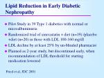 lipid reduction in early diabetic nephropathy