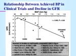 relationship between achieved bp in clinical trials and decline in gfr