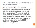 text free or light text sources of information