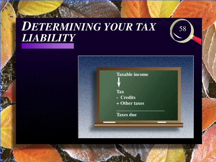 D etermining your tax liability3