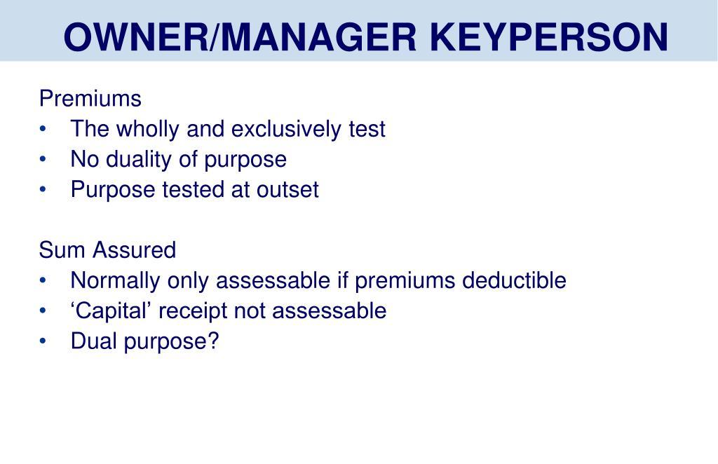 OWNER/MANAGER KEYPERSON